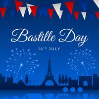 Bastille Day Greeting Template Vecteur