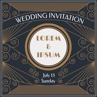 Elegant Art Deco Wedding Invitation Vector
