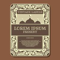 Vintage Labels Poster Brown Vector Template
