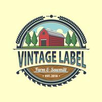 Vintage Farm and Sawmill Etikett Vector