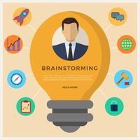 Flat Business Brainstorming Vector Illustration