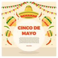 Ilustración de Vector plano de Cinco de Mayo