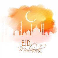 Eid Mubarak-ontwerp op waterverftextuur vector