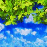 Aquarelle, feuilles, ciel bleu
