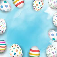 Easter eggs on watercolour background