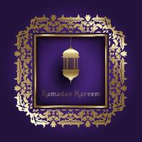 Fundo de Ramadã com moldura decorativa