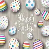Easter eggs on wood background  vector