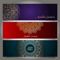 Luxury banners with mandala designs