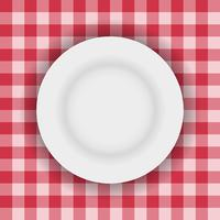 White plate on a table cloth vector