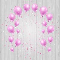Celebration background with pink balloons and confetti vector
