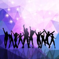 Party crowd on a low poly background