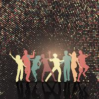 Party people on halftone dots background  vector