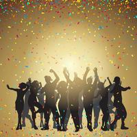 Party people on a confetti background