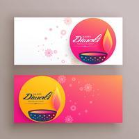 creatieve diwali festival banners met diya en decoratieve elemen