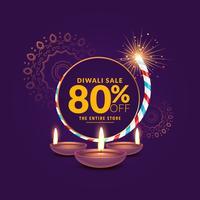 Diwali Festival Sale Vorlage Hintergrund mit Cracker und Diya