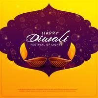 Happy Diwali Design mit zwei Diya-Lampen und funkelt