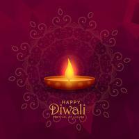 illustration av brinnande diya glad diwali festival bakgrund