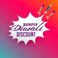 levendige diwali verkoop en korting posterontwerp met vuurwerk ro