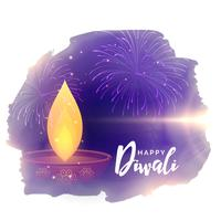 creative diwali festival vector greeting with diya and fireworks