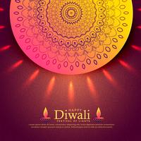 beautiful diwali celebration greeting with mandala decoration