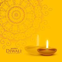 Fondo de festival amarillo con diwali diya lamp y mandala dec.