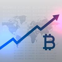 Tabla de crecimiento al alza para el diseño de vector de moneda bitcoin