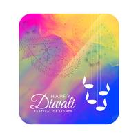 diwali festival greeting card design with watercolor background