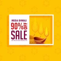 gelber Verkaufshintergrund für Diwali-Saison mit Diya