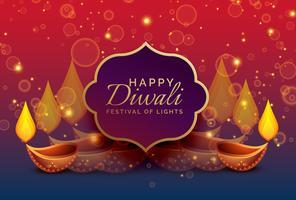 Fondo hermoso saludo diwali con diya y destellos