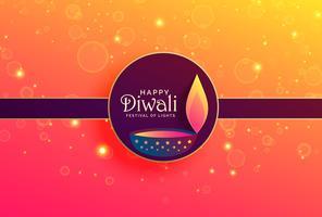 élégant fond joyeux diwali avec paillettes et diya