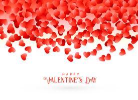 het ontwerp van de de daggroetkaart van de gelukkige valentijnskaart met dalend rood hoort