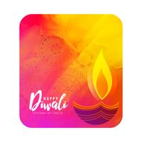 watercolor diwali greeting with artistic diya