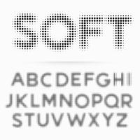 soft alphabet font made in halftone style