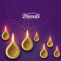 Diseño de tarjeta de felicitación diwali con diya dorado.