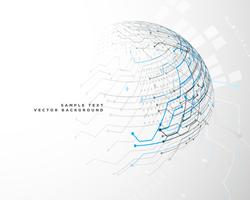 Fondo de red de tecnología futurista en forma de esfera