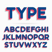 3d typeface font and alphabet vector design