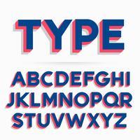 Fuente tipográfica 3d y diseño vectorial alfabeto