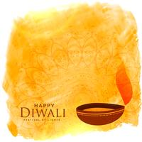 beautiful diwali background with diya and watercolor stain