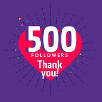 500 followers greeting for social media network template