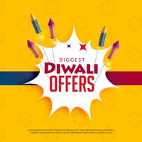 diwali försäljning gul bakgrund med crackers