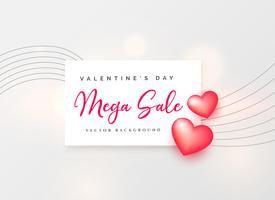 Fondo de venta del día de San Valentín con diseño de cartel de corazón rosa 3d