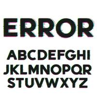 glitch and error style font and alphabet design
