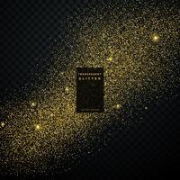 Explosion de confettis de paillettes d'or sur fond transparent noir