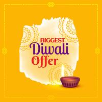 diwali offer voucher design with diya and decorative element