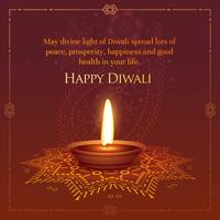 happt diwali wished greeting card design with burning diya