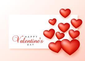 glückliches Valentinstaggrußdesign mit Herzen 3d