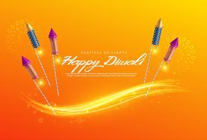 vacker diwali festival hälsning bakgrund med fyrverkerier
