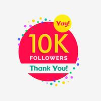 Cartel de 10000 seguidores con ilustración de agradecimiento.