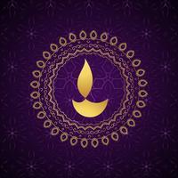 fond de vecteur de diwali diya doré décoratif