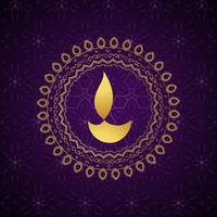 fundo de vetor decorativo diwali diya de ouro